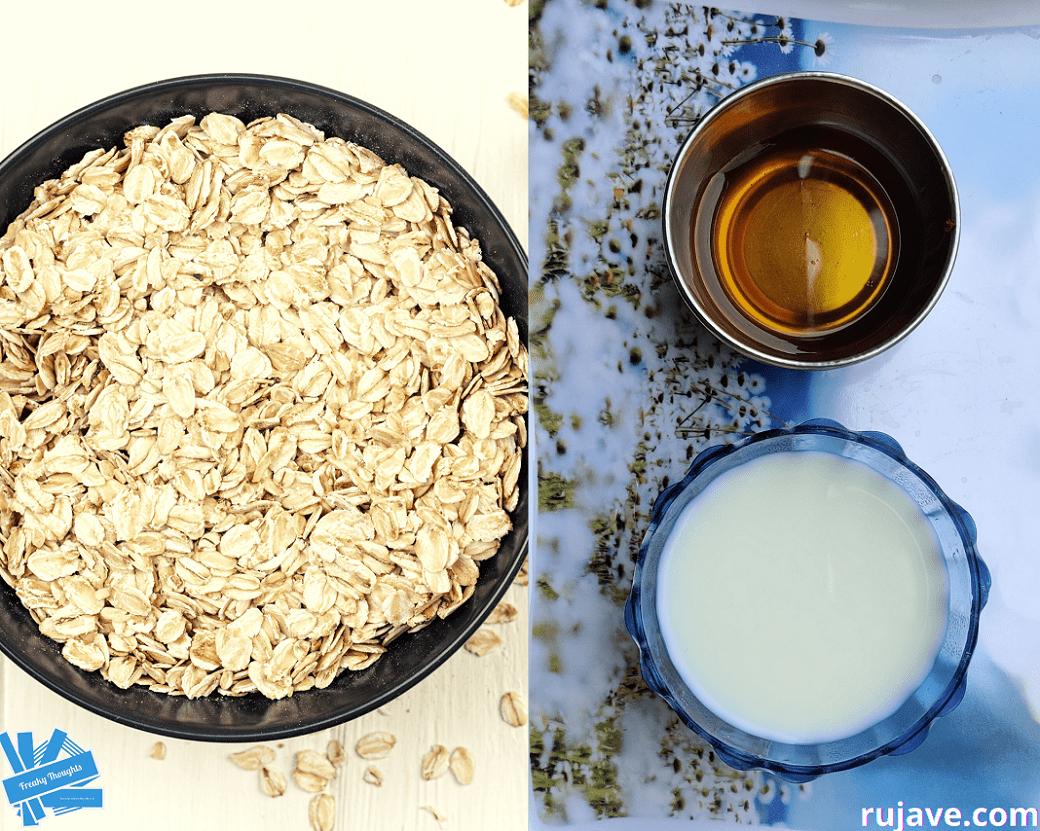 oatmeal, honey and milk